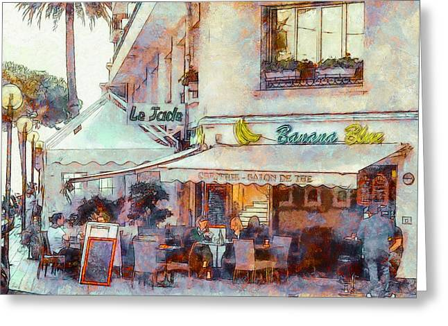 Cannes Greeting Cards - Banana Blue Bar in Cannes Greeting Card by Yury Malkov
