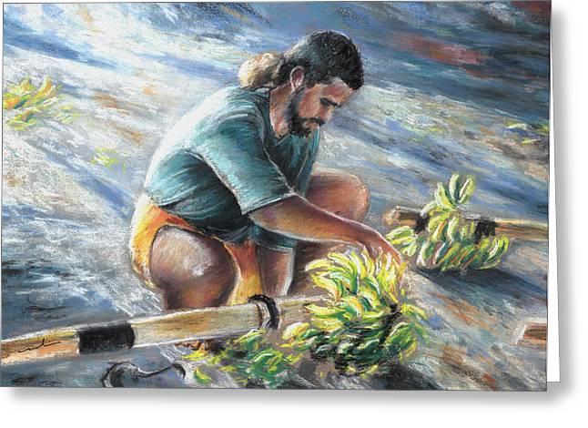 Festivities Drawings Greeting Cards - Banana Carryer in Tahiti 02 Greeting Card by Miki De Goodaboom
