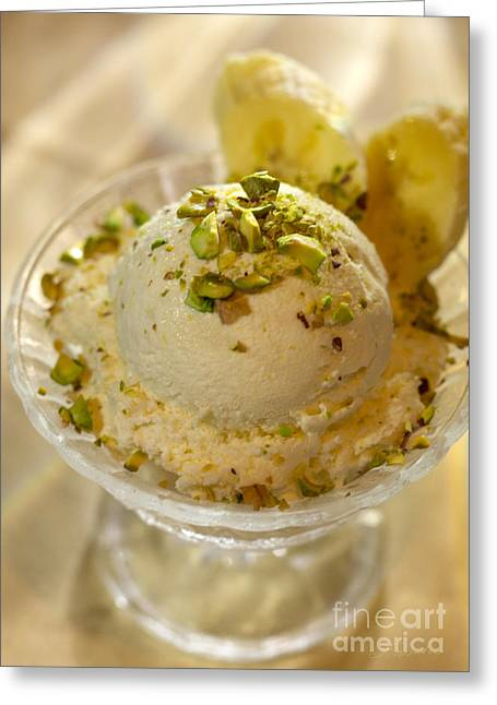 White Cloth Greeting Cards - Banana Ice Cream Dessert  Greeting Card by Iris Richardson