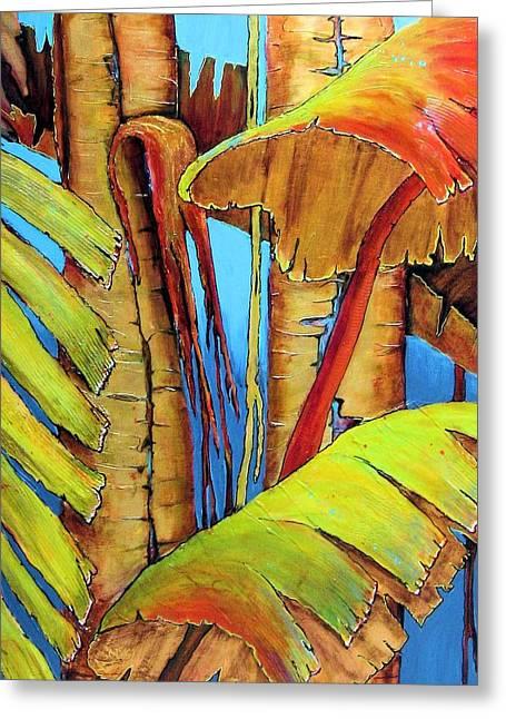 Banana Plants Greeting Cards - Banana Jungle Greeting Card by JAXINE Cummins
