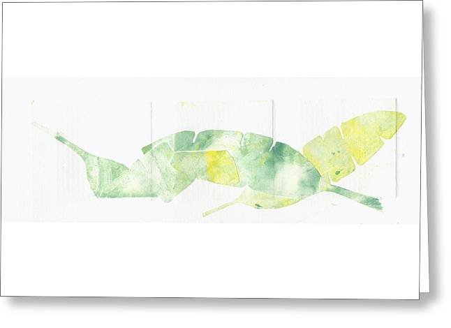 Food And Beverage Reliefs Greeting Cards - Banana Leaves Greeting Card by Theresa Khong