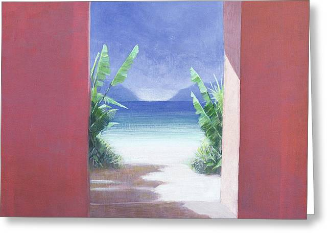 Beach View Greeting Cards - Banana Palms, 2005 Acrylic On Canvas Greeting Card by Lincoln Seligman