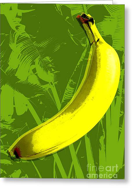 Pop Digital Art Greeting Cards - Banana pop art Greeting Card by Jean luc Comperat
