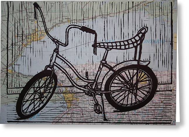Lino Greeting Cards - Banana Seat on map Greeting Card by William Cauthern