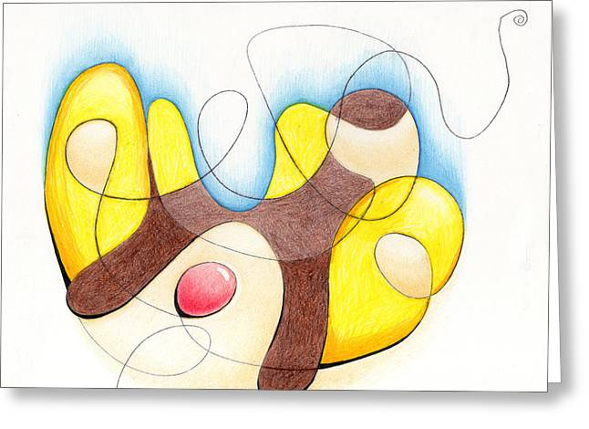 Split Drawings Greeting Cards - Banana Split Greeting Card by Ismael Cavazos
