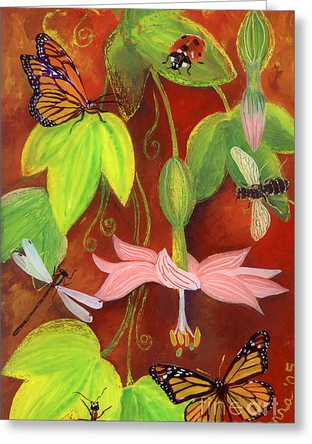 Bees Glass Art Greeting Cards - Bananapoka Greeting Card by Anna Skaradzinska