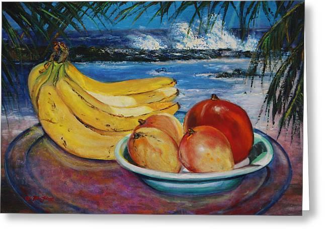 Mango Greeting Cards - Bananas and mangoes at Jobo Beach Isabela Greeting Card by Estela Robles