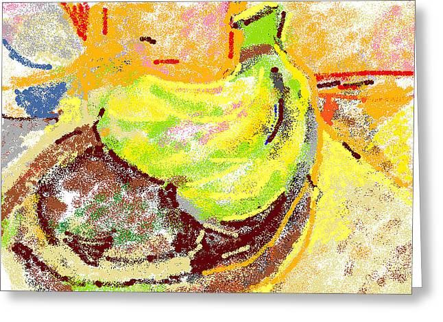 Wooden Bowls Digital Art Greeting Cards - Bananas from Paphos 2 Greeting Card by Anita Dale Livaditis