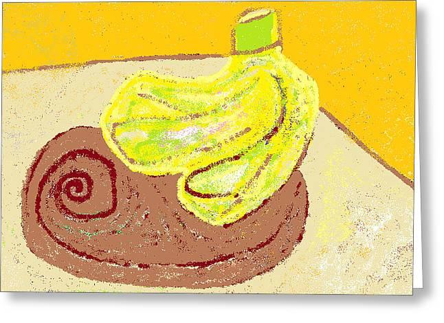 Wooden Bowls Digital Art Greeting Cards - Bananas from Paphos 3 Greeting Card by Anita Dale Livaditis