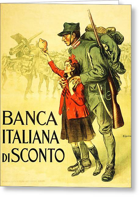 Ww1 Drawings Greeting Cards - Banca Italiana Di Sconto, 1917 Greeting Card by Enrico della Lionne