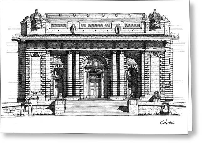 Brigade Drawings Greeting Cards - Bancroft Hall U S N A Greeting Card by Calvin Durham