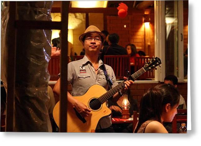 Band at Palaad Tawanron Restaurant - Chiang Mai Thailand - 01133 Greeting Card by DC Photographer