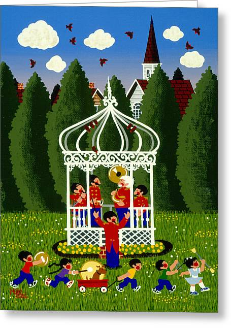 Bandstand Greeting Cards - Band Competition  Greeting Card by Merry  Kohn Buvia