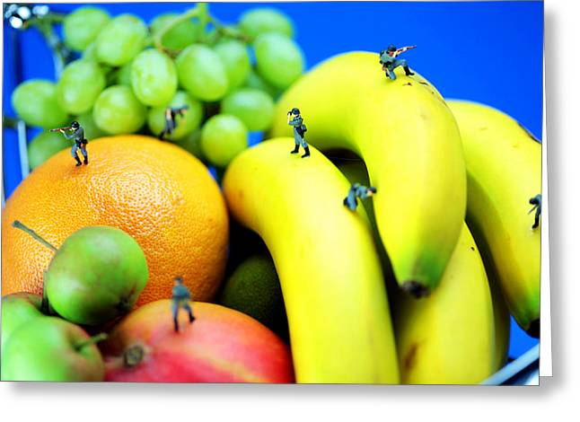Band Of Brothers Among Fruits Jungle Little People On Food Greeting Card by Paul Ge