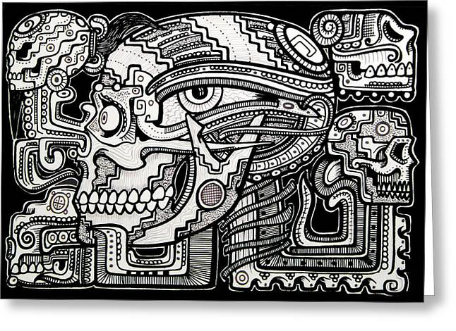 Recently Sold -  - Ink Drawing Greeting Cards - Band Of Skulls Greeting Card by Alex Amezola