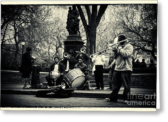 Filmnoir Greeting Cards - Band on Union Square New York City Greeting Card by Sabine Jacobs