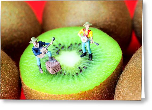 Creative People Greeting Cards - Band show on Kiwi fruits little people on food Greeting Card by Paul Ge