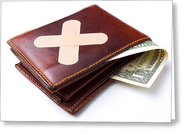 Money Problems Greeting Cards - Bandage for wallet Greeting Card by Sinisa Botas