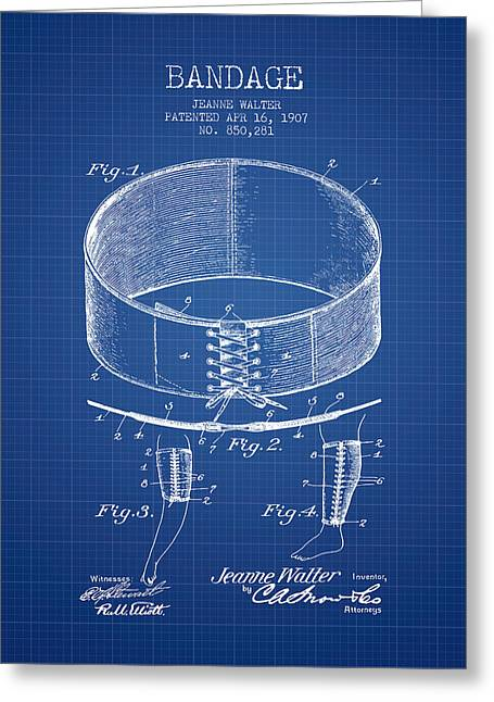 Bandage Patent From 1907 - Blueprint Greeting Card by Aged Pixel