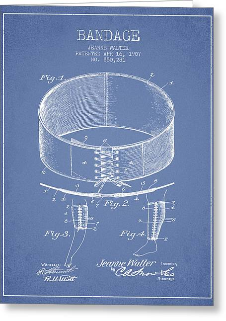 Bandages Greeting Cards - Bandage Patent from 1907 - Light Blue Greeting Card by Aged Pixel