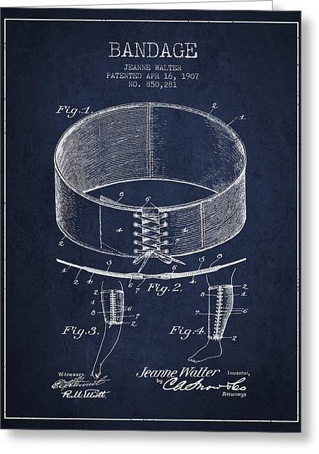 Bandages Greeting Cards - Bandage Patent from 1907 - Navy Blue Greeting Card by Aged Pixel