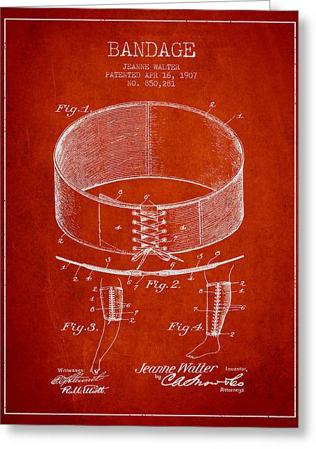 Bandages Greeting Cards - Bandage Patent from 1907 - Red Greeting Card by Aged Pixel