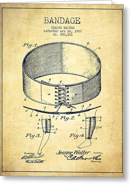 Bandages Greeting Cards - Bandage Patent from 1907 - Vintage Greeting Card by Aged Pixel