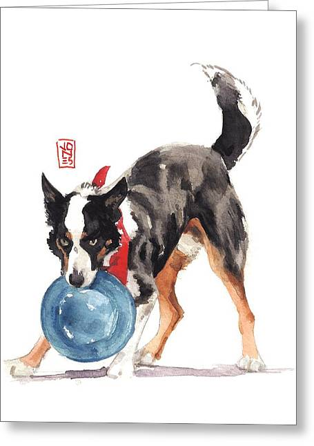 Dog At Play Greeting Cards - Bandanna Catch Greeting Card by Debra Jones