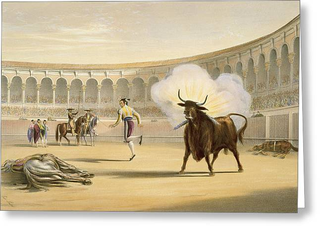 Bullfight Greeting Cards - Banderillas De Fuego, 1865 Greeting Card by William Henry Lake Price