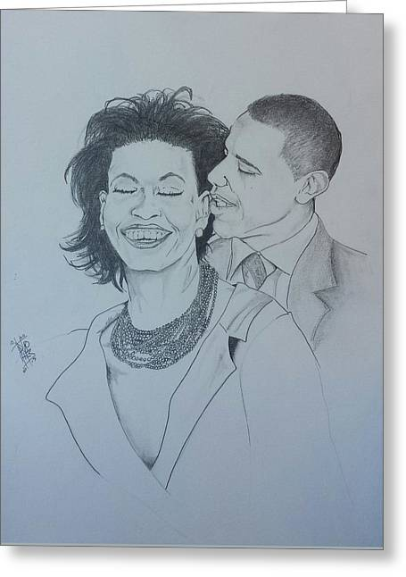 Michelle Obama Drawings Greeting Cards - BandMO Greeting Card by DMo Her