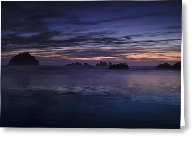 Ocean Art Photographs Greeting Cards - Bandon Beach at Twilight Greeting Card by Andrew Soundarajan
