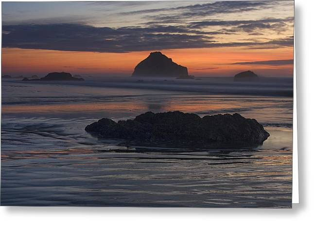 Bandon Beach Face Rock Sunset Greeting Card by Mark Kiver