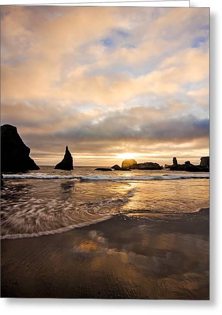 Ocean Art Photgraphy Greeting Cards - Bandon Beach Greeting Card by Heather K Jones