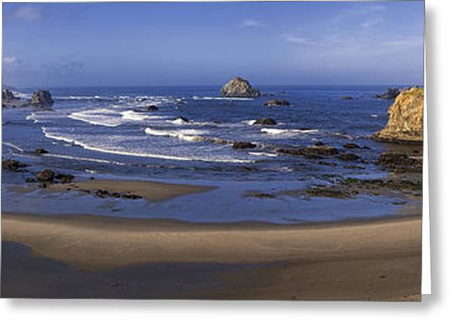 Ocean Art Photography Greeting Cards - Bandon Beach Panorama Greeting Card by Andrew Soundarajan