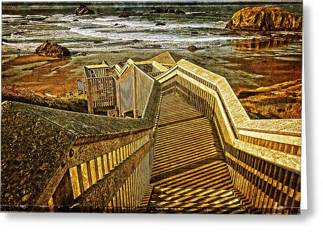 Posters Greeting Cards - Bandon Beach Stairway Greeting Card by Thom Zehrfeld