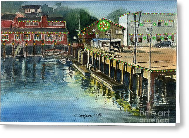 Prowler Paintings Greeting Cards - Bandon Boardwalk at Christmas Greeting Card by Anthony Coulson