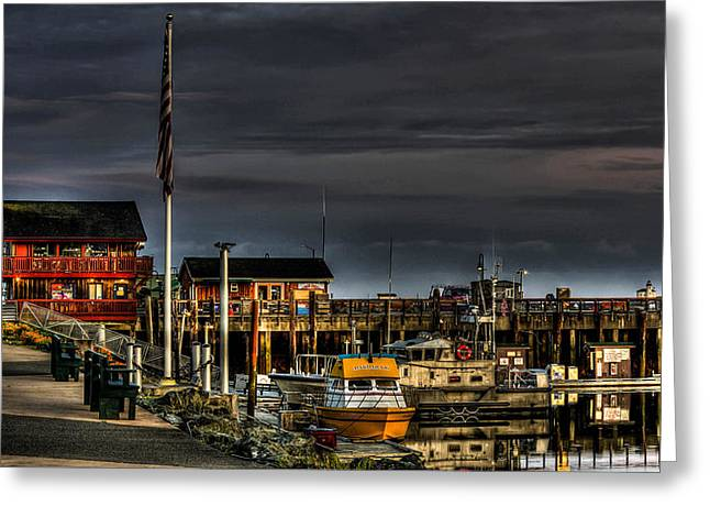 Fishing Boats Greeting Cards - Bandon Boat Basin At Dawn Greeting Card by Thom Zehrfeld