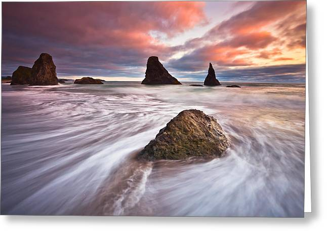 Oregon Coast Greeting Cards - Bandon Evening Lights Greeting Card by Darren  White