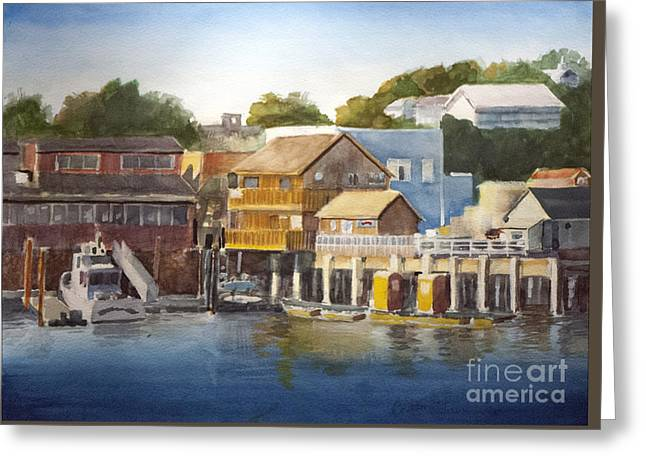 Prowler Paintings Greeting Cards - Bandon Harbor - Oregon Greeting Card by Anthony Coulson