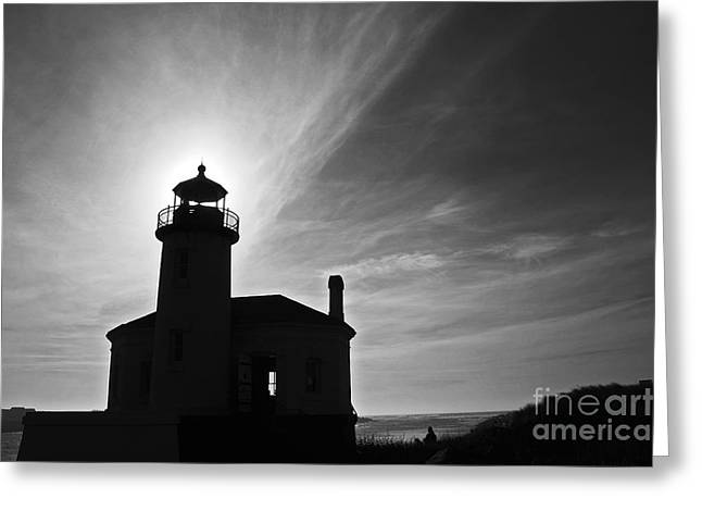 Lighthouse By The Sea Greeting Cards - Bandon Light Silhouette Thirty Five Greeting Card by Donald Sewell