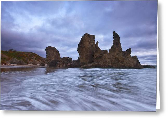 Oregon Sea Stacks Greeting Cards - Bandon Moon Greeting Card by Darren  White