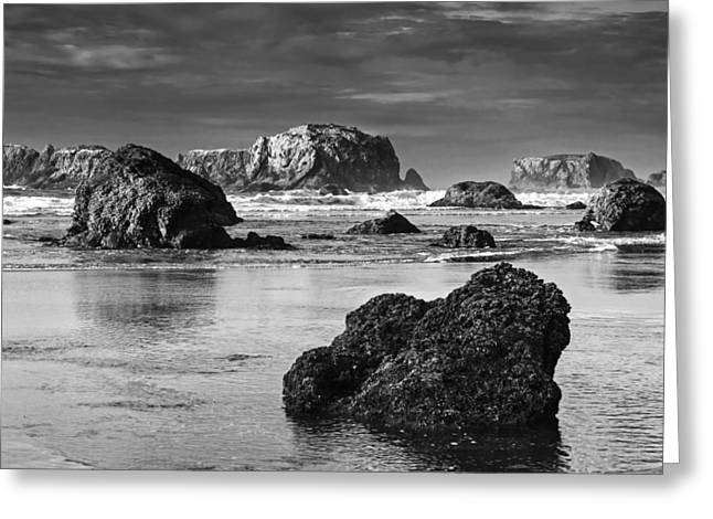 Stack Greeting Cards - Bandon Sea Stacks Black and White Greeting Card by Mark Kiver