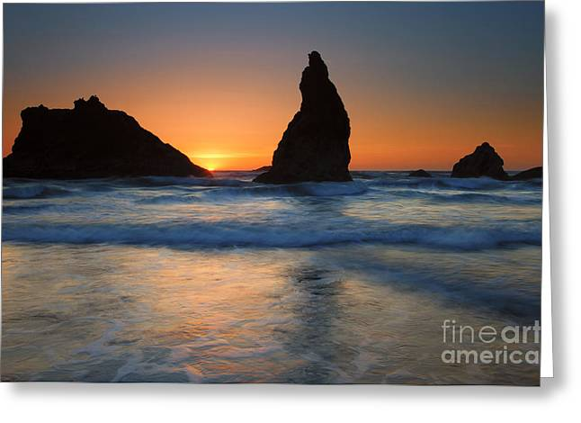 Face Photographs Greeting Cards - Bandon Sundown Greeting Card by Mike  Dawson