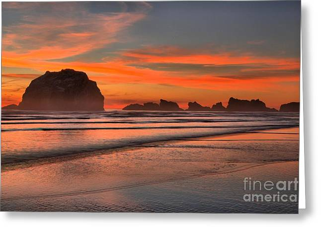 Bandon Sunset And Surf Greeting Card by Adam Jewell