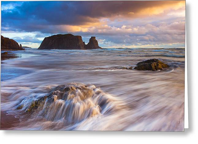 Landscape. Scenic Greeting Cards - Bandon Sunset Greeting Card by Darren  White