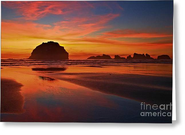Bandon Sunset Spectacular Greeting Card by Adam Jewell