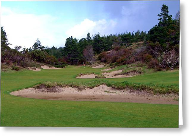 Four Fifteen Greeting Cards - Bandon Trails Hole #15 Greeting Card by Scott Carda