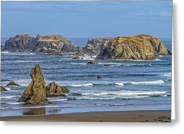 Wave Tapestries - Textiles Greeting Cards - Bandon Beach Landscape Greeting Card by Dennis Bucklin