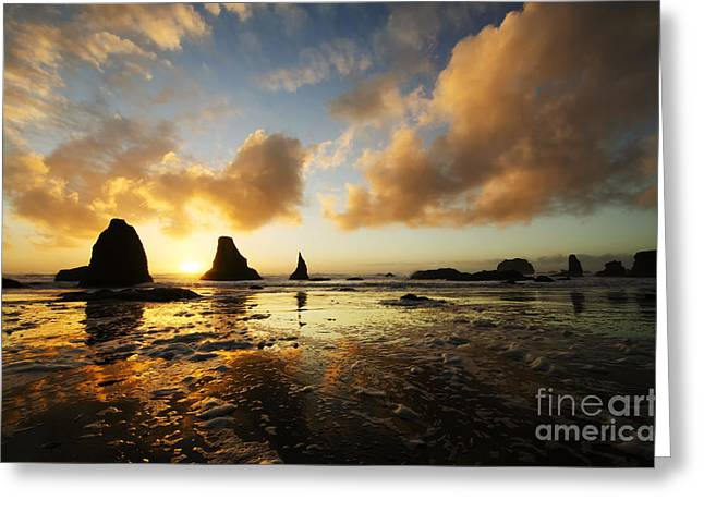 Greeting Cards - Bandon By The Sea Oregon Sunset 1 Greeting Card by Bob Christopher