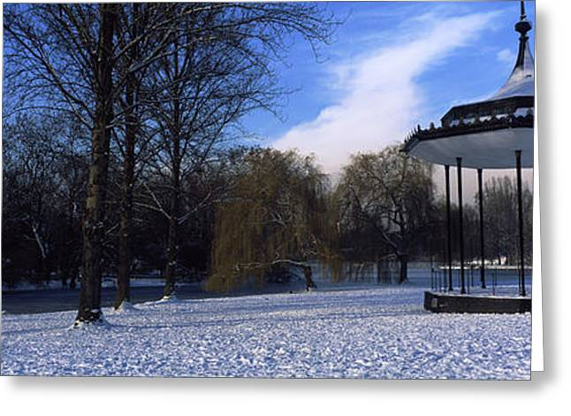 Bandstand Greeting Cards - Bandstand In Snow, Regents Park Greeting Card by Panoramic Images